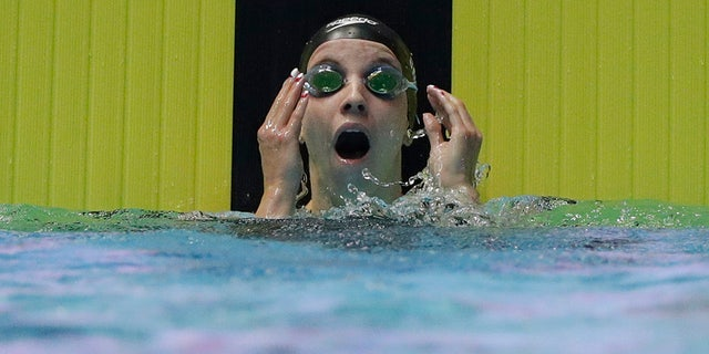 United States' Regan Smith reacts after her women's 200m backstroke semifinal at the World Swimming Championships in Gwangju, South Korea, Friday, July 26, 2019. (AP Photo/Mark Schiefelbein)