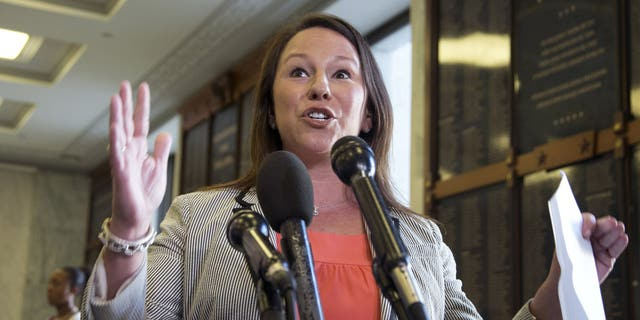 In this May 21, 2013, file photo, Rep. Martha Roby, R-Ala., speaks to the reporters on Capitol Hill in Washington. The five-term congresswoman from Montgomery is not running for reelection in 2020. Roby's announcement Friday, July 26, 2019, makes her the second House GOP woman to announce she will not seek another term. (AP Photo/Manuel Balce Ceneta, File)