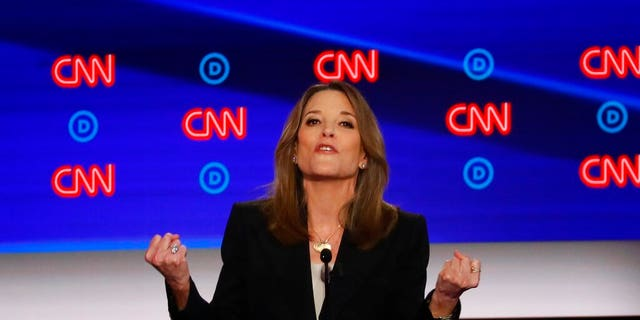 Marianne Williamson participates in the first of two Democratic presidential primary debates hosted by CNN Tuesday, July 30, 2019, in the Fox Theatre in Detroit. (Associated Press)