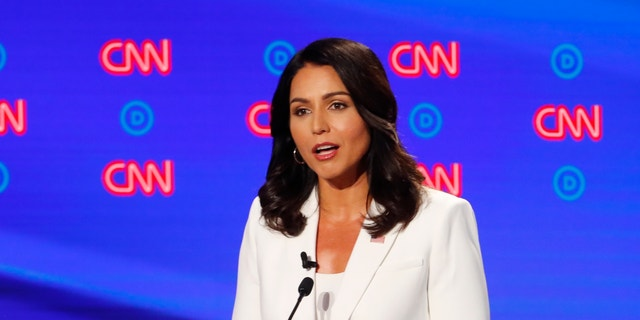 Rep. Tulsi Gabbard, D-Hawaii, speaks during the second of two Democratic presidential primary debates hosted by CNN on Wednesday in Detroit. (Associated Press)