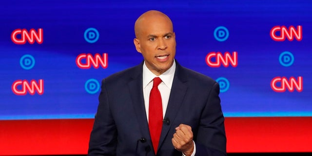 Sen. Cory Booker, D-N.J., participates in the second of two Democratic presidential primary debates hosted by CNN Wednesday, July 31, 2019, in the Fox Theatre in Detroit. (AP Photo/Paul Sancya)
