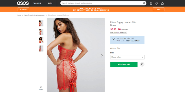 The see-through red dress features a strapless design with a sweetheart neckline and racy lace-up back.