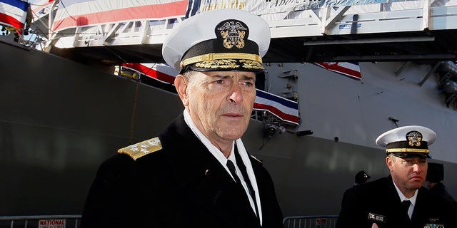 Vice Chief of Naval Operations, Admiral William Moran, describes a duty of a USS Thomas Hudner before to a commissioning rite in Boston in 2018. (AP)