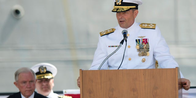Adm. William Moran speaks during a Commissioning of a USS Montgomery in Mobile, Ala, in 2016. (AP)