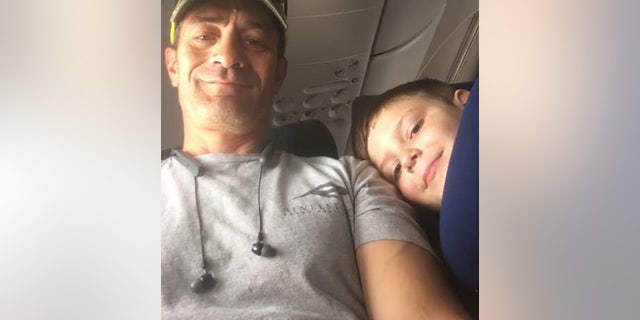 """Pedraza, left, sent Landon's mom a message, confirming that the two became """"travel buddies"""" on the flight."""