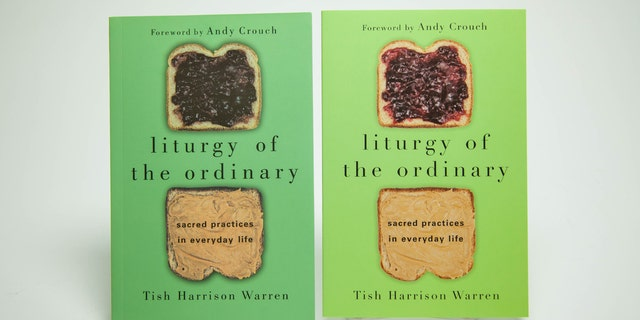 "A counterfeit copy of Christian author Tish Harrison Warren's ""liturgy of the ordinary: sacred practices in everyday life"" next to an original one published by InterVarsity Press."