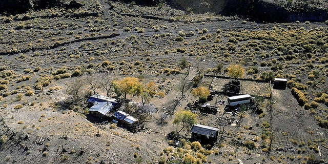 Aerial view of Barker Ranch, former home of serial killer Charles Manson and family; nr. Death Valley. (Photo by Vernon Merritt III/The LIFE Picture Collection via Getty Images/Getty Images)