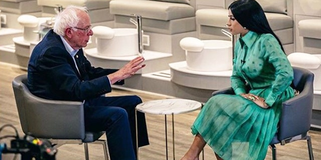US Senator Bernie Sanders sits down with Cardi B in filmed discussion about politics. (Photo: Instagram/@iamcardib)