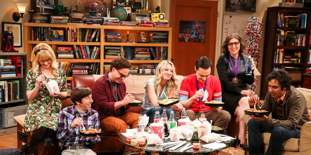 "The cast of ""The Big Bang Theory"" in the series finale after a Nobel Prize ceremony."