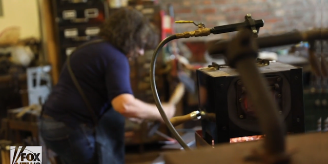 """""""Is the female blacksmithing community large? Not large, but bigger than most people realize,"""" says Trattner, who teaches creative blacksmithing classes at her studio."""