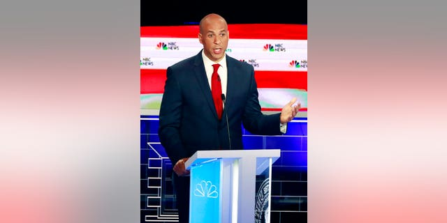 Democratic presidential candidate Sen. Cory Booker, D-N.J., speaks during the Democratic primary debate hosted by NBC News at the Adrienne Arsht Center for the Performing Art, Wednesday, June 26, 2019, in Miami. (AP Photo/Wilfredo Lee)