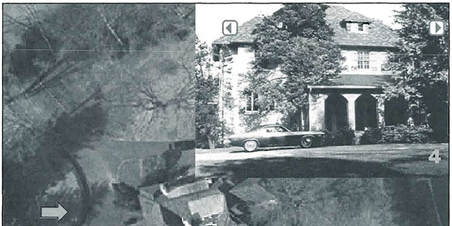 Aerial perspective of a crime stage and Martha Moxley's home.