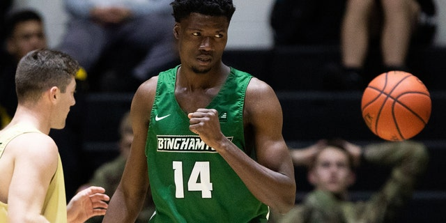 Calistus Anyichie #14 of a Binghamton Bearcats drowned during an upstate New York park on Sunday. (Photo by Dustin Satloff/Getty Images)