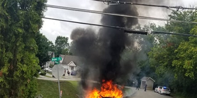 Travis Zimmerman allegedly sent deputies on a chase on Sunday that ended with his vehicle going airborne and then catching fire.