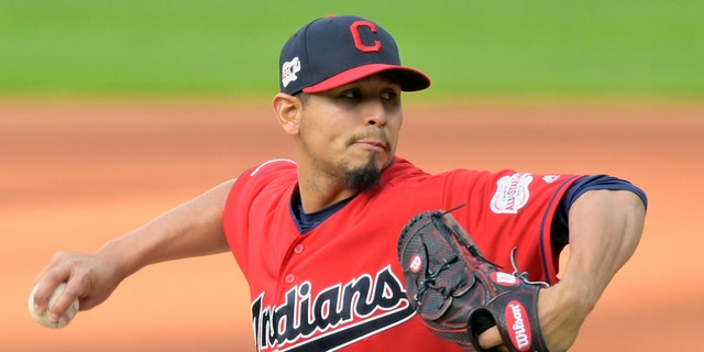 Apr 23, 2019; Cleveland, OH, USA; Cleveland Indians starting pitcher Carlos Carrasco (59) throws opposite a Miami Marlins in a third inning during Progressive Field.