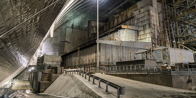 A view inside the 'New Safe Confinement' of the old sarcophagus entombing the destroyed reactor number four at the Chernobyl Nuclear Power Plant on July 2, 2019 in Pripyat, Ukraine.