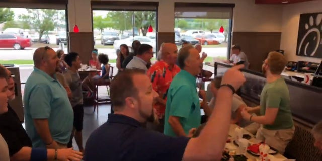 Members of the Acapella Ministries Worship Leader Institute broke out in song at a Chick-fil-A in Nashville earlier this month.
