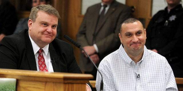Christopher Tapp, right, and public defender John Thomas at Tapp's hearing Wednesday in Idaho Falls, Idaho. (Taylor Carpenter/Post Register via AP, Pool)