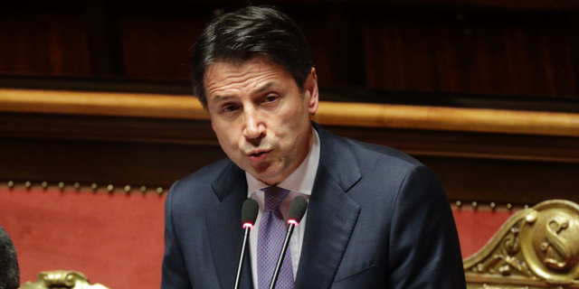 Italian Premier Giuseppe Conte addresses the Senate on allegations that The League party sought Russian funding, in Rome, Tuesday, July 24, 2019. (AP Photo/Andrew Medichini)