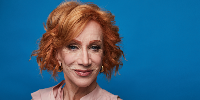 """This July 16, 2019 photo shows Kathy Griffin posing for a portrait in New York to promote her film """"Kathy Griffin: A Hell of a Story,"""" in select theaters for one day only on July 31. (Photo by Matt Licari/Invision/AP)"""