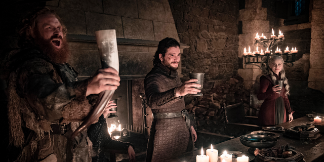 "This image released by HBO shows Kristofer Hivju, from left, Kit Harington and Emilia Clarke in a scene from ""Game of Thrones."" ""Game of Thrones,"" ""Veep"" and ""The Big Bang Theory,"" three major series that wrapped last season, will find out with Tuesday's nominations if they have one more chance at Emmy gold."