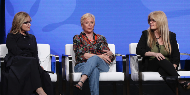 """Members of """"The Brady Bunch,"""" cast, from left, Maureen McCormick, Eve Plumb and Susan Olsen participate in HGTV's """"A Very Brady Renovation"""" panel at the Television Critics Association Summer Press Tour on Thursday, July 25, 2019, in Beverly Hills, Calif."""