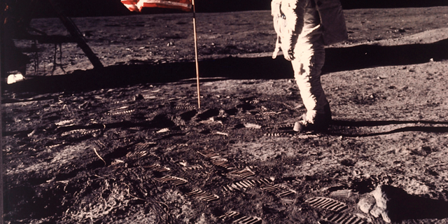 FILE - In this picture supposing by NASA, wanderer Buzz Aldrin poses for a sketch beside a U.S. dwindle deployed on a moon during a Apollo 11 goal on Jul 20, 1969.