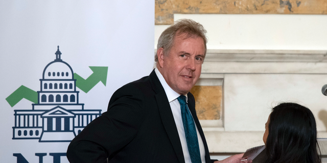 "In this Friday, Oct. 20, 2017 photo, British Ambassador Kim Darroch hosts a National Economists Club event at the British Embassy in Washington. Leaked diplomatic cables published Sunday, July 7,2 019, in a British newspaper reveal that Britain's ambassador to the United States described President Donald Trump's administration as ""clumsy and inept"" while grappling with international problems. (AP Photo/Sait Serkan Gurbuz)"