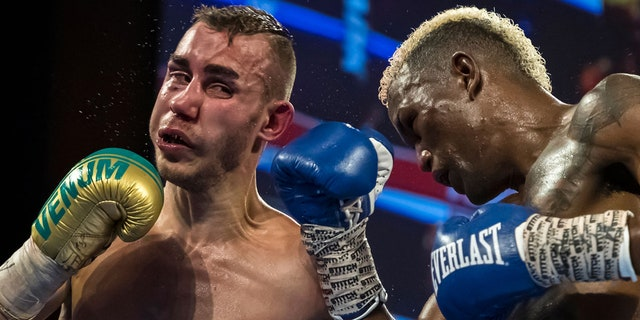 Subriel Matias and Maxim Dadashev in action during the tenth round of their junior welterweight IBF World Title Elimination fight at The Theater at MGM National Harbor on July 19, 2019 in Oxon Hill, Maryland. (Photo by Scott Taetsch/Getty Images)