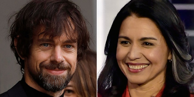 Twitter CEO Jack Dorsey, left, donated thousands to the campaign of Rep. Tulsi Gabbard, Democrat of Hawaii.