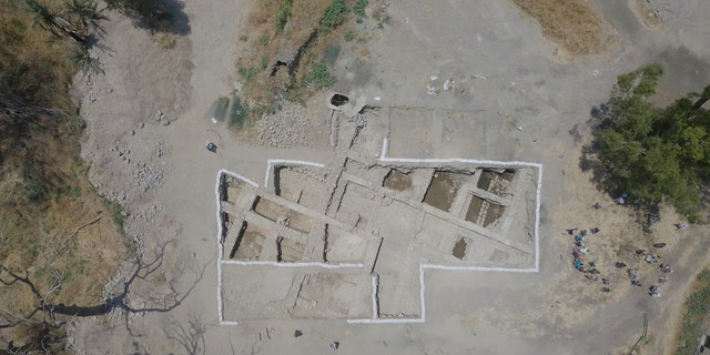 Aerial view of the excavation site at el-Araj.