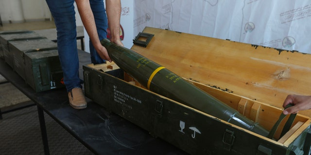 A picture taken in Tripoli on June 29, 2019, shows fighters loyal to the internationally-recognised Libyan Government of National Accord (GNA) displaying precision guided munition, which were reportedly confiscated from forces loyal to General Khalifa Haftar in Gharyan.  The United States said it was looking into a report that American anti-tank missiles were found by forces loyal to Libya's unity government at a captured rebel base. The missiles were apparently discovered earlier this week when forces loyal to the Government of National Accord recaptured the strategic town of Gharyan in a surprise attack, seizing the main supply base for Haftar's Tripoli offensive. (Photo by - / AFP/Getty Images)