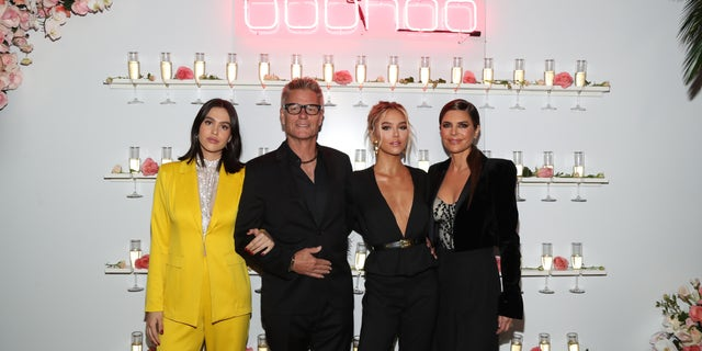(L-R) Amelia Grey, Harry Hamlin, Delilah Belle and Lisa Rinna attend a party in Los Angeles
