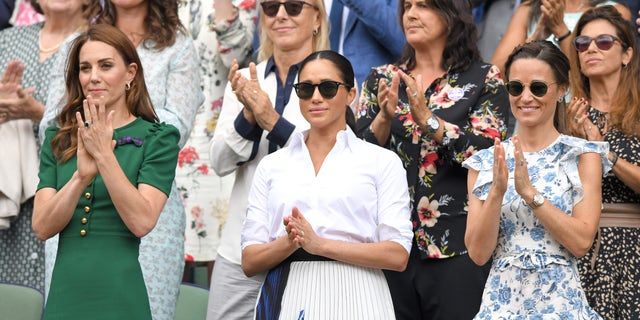 Catherine, Duchess of Cambridge, Meghan, Duchess of Sussex and Pippa Middleton during day twelve of the Wimbledon Tennis Championships on July 13, 2019, in London. (Photo by Karwai Tang/Getty Images)