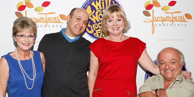Denise Nickerson, Paris Themmen, Julie Cole, and Rusty Goff attend the 40th Anniversary of Willy Wonka & The Chocolate Factory at Jacques Torres Chocolates on Oct. 18, 2011 in New York City. (Photo by Cindy Ord/Getty Images)