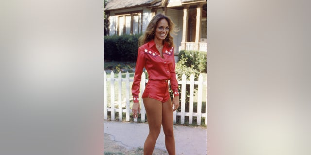 "Catherine Bach on the set of the television show, ""The Dukes of Hazzard,"" July 1980. (Photo by Fotos International/Getty Images)"