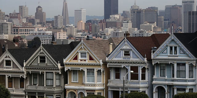 A view of San Francisco's famed Painted Ladies Victorian houses. (Photo by Justin Sullivan/Getty Images)