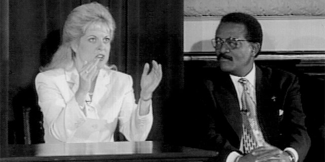 """Nancy Grace and Johnnie Cochran as seen on Court TV's 5th Anniversary Special """"Justice In America: Perception vs. Reality."""" The program aired live on July 1, 1996, from the Association of the Bar of the City of New York. (Photo by Evan Agostini / Liaison Agency)"""