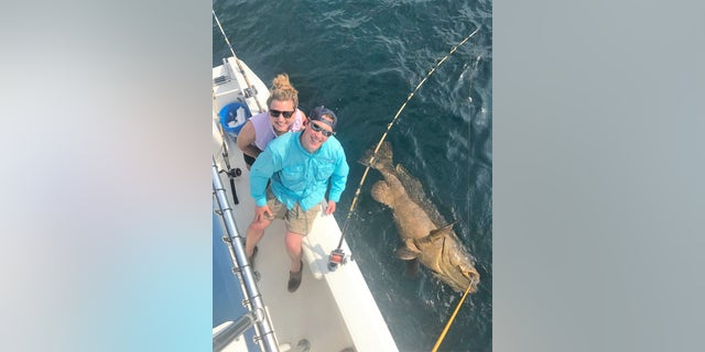 The grouper took 45 minutes to reel in, the charter boat's captain said.