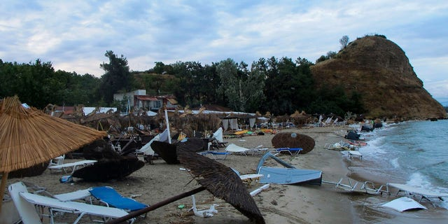 A powerful storm hit the northern Halkidiki region late Wednesday.