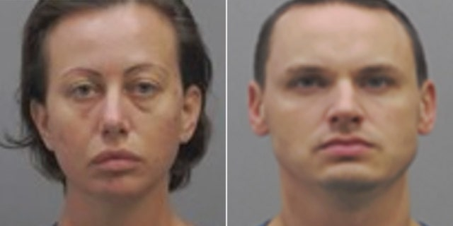 Mugshots for Angelina Hamrick, 32, and Andrew Clark, 33, arrested Saturday in the death of Hamrick's husband. Clark serves in the Air Force in Texas.