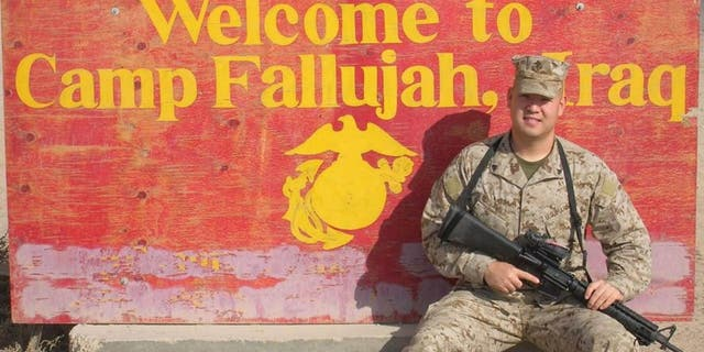 Ahn during his tour of duty as a Marine in Fallujah, Iraq