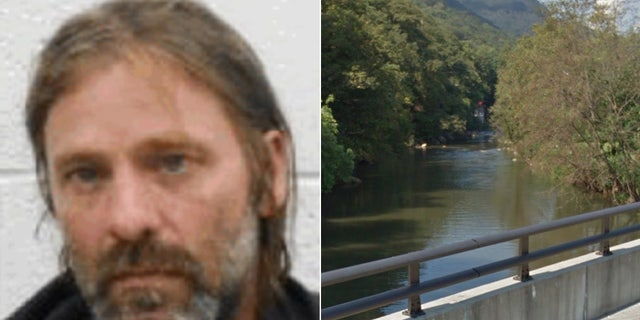 Jesse Lee Boyd was caught by police in Lake Lure, N.C., on Saturday after officers waited on this bridge for him to float downstream.