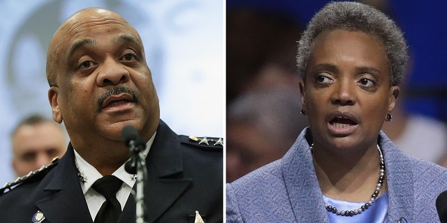 Chicago Mayor Lori Lightfoot, right, and Chicago Police Superintendent Eddie Johnson. (Getty)
