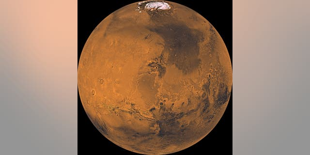 Mars as seen from orbit in the 1970s by NASA's Viking mission.