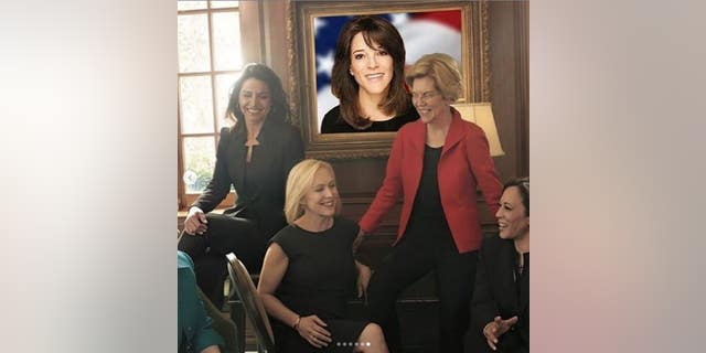 Marianne Williamson edited a portrait of herself into a photo used by Vogue for a feature on five women vying for the 2020 Democratic presidential nomination. Williams was excluded from the story.