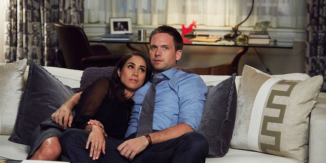 Pictured: Meghan Markle as Rachel Zane, Patrick J. Adams as Michael Ross