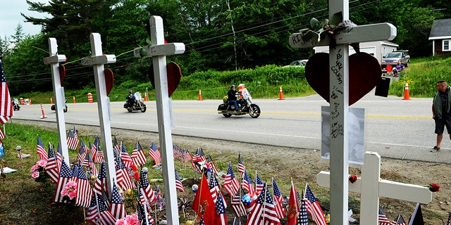 Motorcyclists attend in a Ride for a Fallen 7 on Saturday in New Hampshire. Thousands of motorcyclists trafficked by tools of New Hampshire as a reverence to a 7 bikers killed in a collision with a pickup lorry final month. (Paul Hayes/Caledonian-Record around AP)