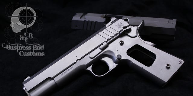 One of the pistols during construction.
