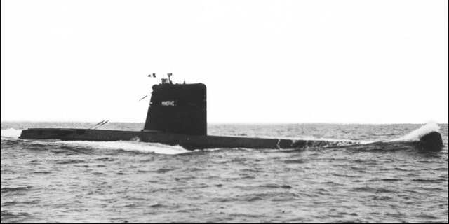 File photo of the French Navy's submarine Minerve, which disappeared on Jan.27, 1968.